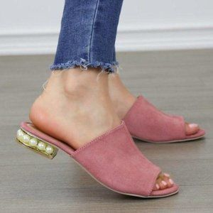 Pink Vegan Suede Loafer Open Toe Sandal Pearl